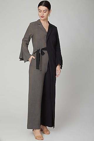 Grey & Black Jumpsuit With Flap by Aruni