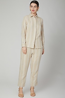 Nude Embroidered Linen Shirt by Aruni