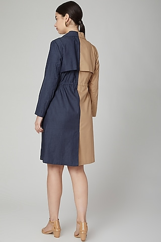 Brown & Blue Jacket Dress by Aruni