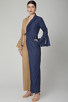 Brown & Blue Jumpsuit With Concealed Zipper by Aruni