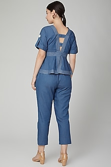 Cobalt Blue Peplum Denim Top by Aruni
