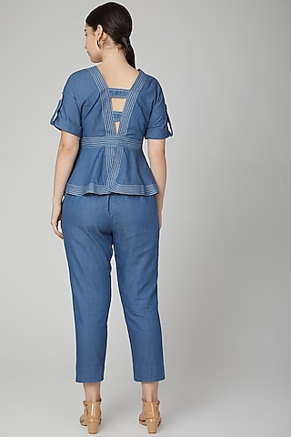 Cobalt Blue Pants With Concealed Zipper by Aruni