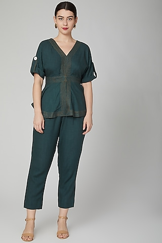 Green Peplum Top With Hook & Eye by Aruni