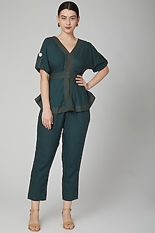 Green Pants With Concealed Zipper by Aruni
