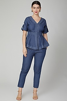 Cobalt Blue Denim Peplum Top by Aruni