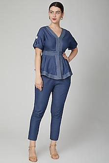 Cobalt Blue Denim Pants With Concealed Zipper by Aruni