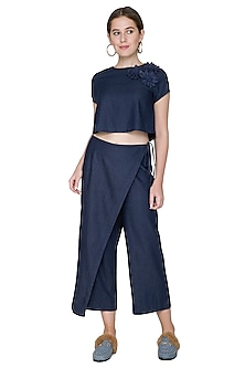 Midnight Blue Embroidered Crop Top by Aruni