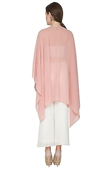 Blush Pink Embroidered Cape by Aruni