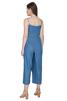 Cobalt Blue Embroidered Jumpsuit by Aruni