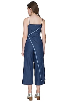 Dark Blue Embroidered Jumpsuit by Aruni