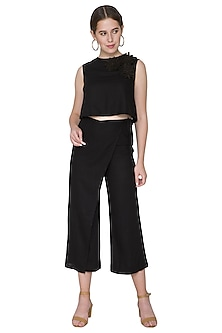 Black Embroidered Linen Crop Top by Aruni