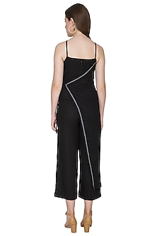 Black Embroidered Linen Jumpsuit by Aruni