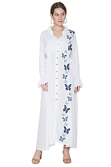 White Butterfly Embroidered Dress by Aruni