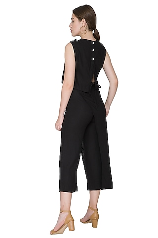 Black Embroidered Culotte Pants by Aruni