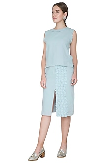 Sky Blue Embroidered Skirt by Aruni