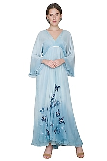 Sky Blue Butterfly Embroidered Dress by Aruni