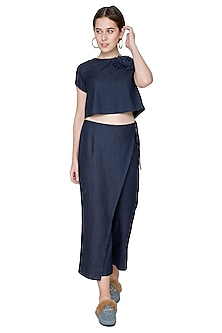 Cobalt Blue Embroidered Culotte Pants by Aruni