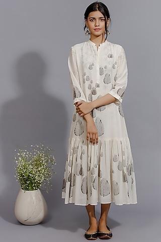 Off White Printed Dress by Anju Modi
