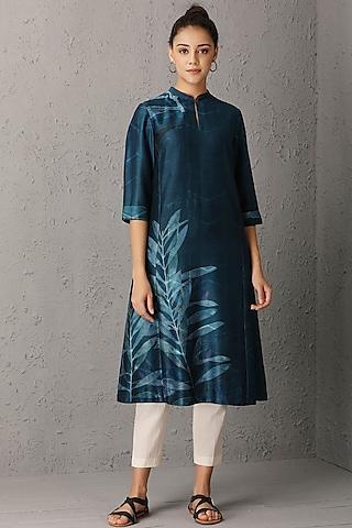 Indigo Blue Leaf Printed Kurta by Anju Modi