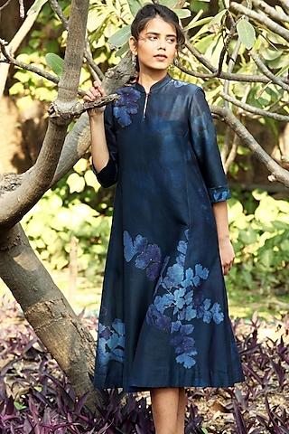 Indigo Blue Printed A-Line Kurta by Anju Modi
