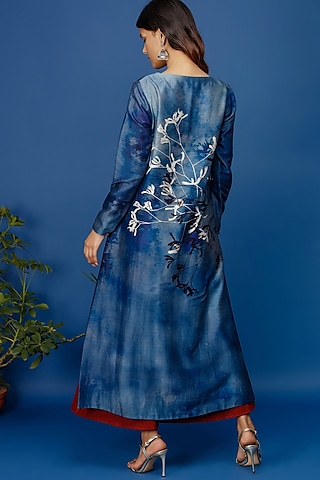 Indigo Blue Floral Jaal Printed Kurta by Anju Modi