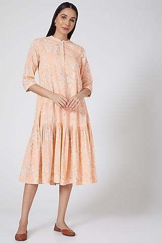Peach Printed & Striped Tunic by Anju Modi