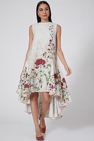 Ivory Rosemary Printed High-Low Dress by Anju Modi