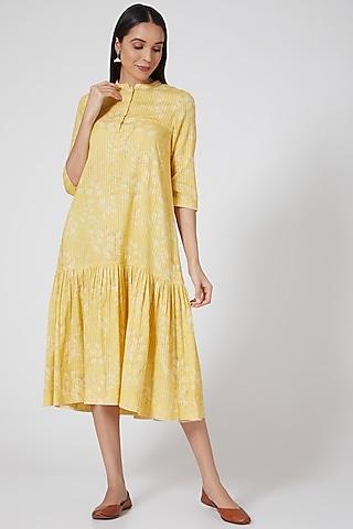 Yellow Printed & Striped Tunic by Anju Modi