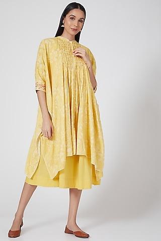 Yellow Embroidered Kaftan With Tunic by Anju Modi