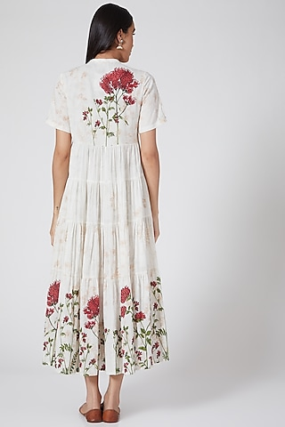 Ivory Printed & Embroidered Tiered Dress by Anju Modi