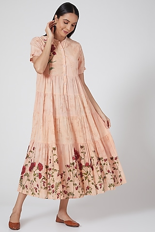 Peach Printed & Embroidered Tiered Dress by Anju Modi