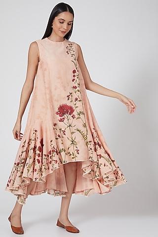 Peach Printed High-Low Dress by Anju Modi