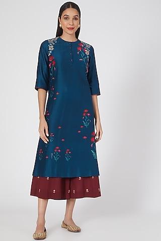 Teal Blue Printed & Embroidered Kurta Set by Anju Modi