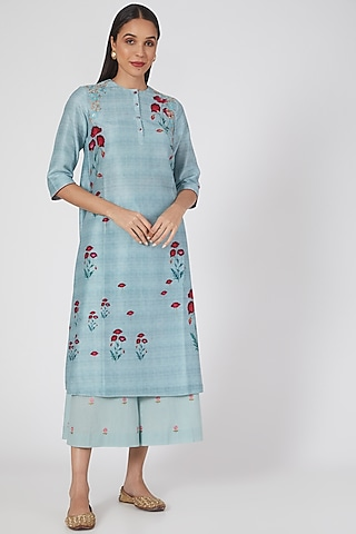 Ice Blue Printed & Embroidered Kurta Set by Anju Modi