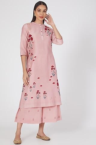 Onion Pink Printed & Embroidered Kurta Set by Anju Modi