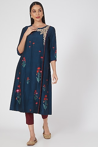 Teal Blue Floral Printed Kurta Set by Anju Modi