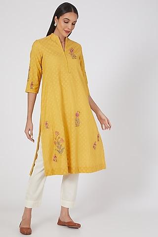 Yellow Floral Embroidered Straight Kurta Set by Anju Modi
