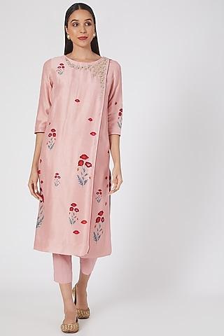 Onion Pink Floral Printed Kurta Set by Anju Modi