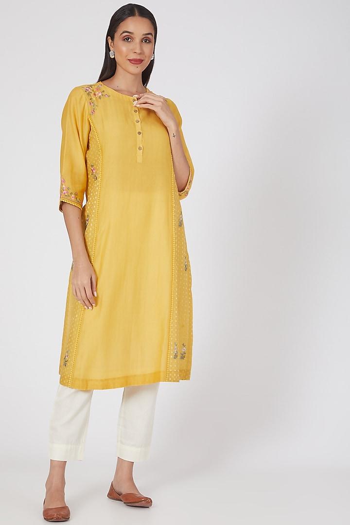 Yellow Embroidered Kurta by Anju Modi