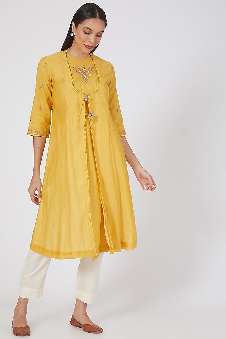 Yellow Embroidered Double Layered Kurta by Anju Modi