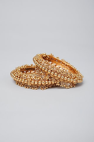 Gold Plated Beaded Bangles by Anjali Jain Jewellery