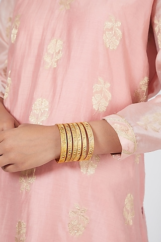 Gold Plated Carved Bangles (Set of 6) by Anjali Jain Jewellery
