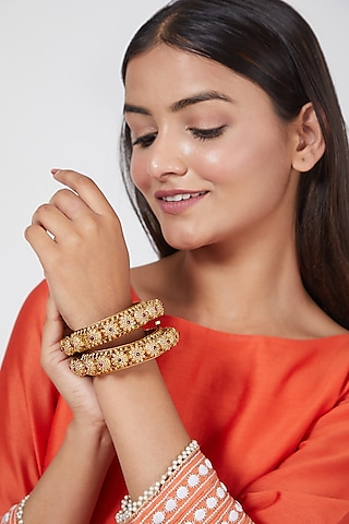 Gold Plated Bangles With Stones by Anjali Jain Jewellery