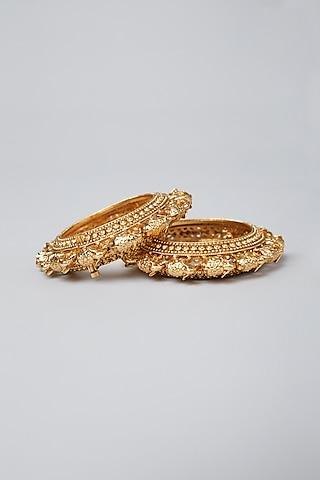 Gold Plated Elephant Bangles by Anjali Jain Jewellery