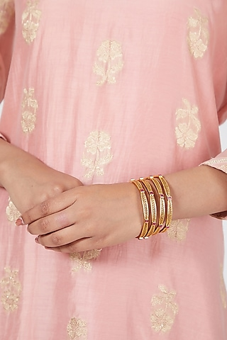 Gold Plated Red Stone Bangles (Set of 4) by Anjali Jain Jewellery