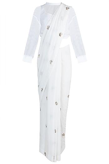 White Crushed Saree Set by Anamika Khanna