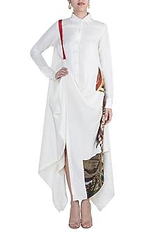 White Draped Shirt Dress by Anamika Khanna
