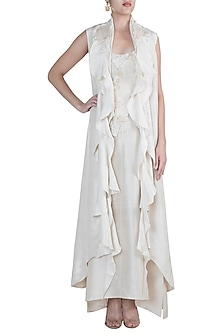 White Jacket With Textured Dress by Anamika Khanna