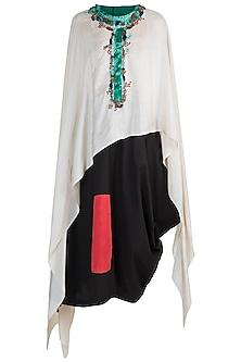 Cream Highlighted Dupatta Cape With Black Skirt by Anamika Khanna