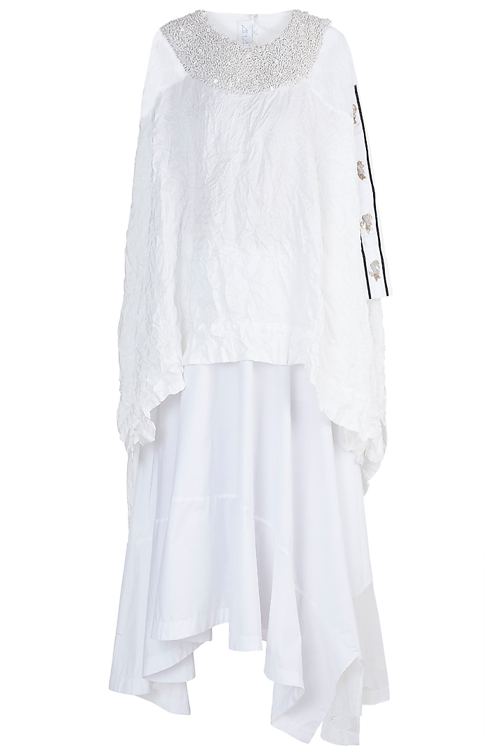 White Embellished Top With Skirt by Anamika Khanna